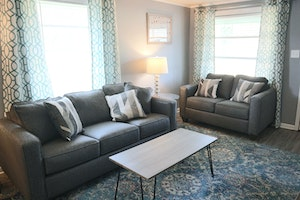 Comfortable living room with brand new furniture